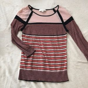 LOFT coral and black striped 3/4 sleeve top